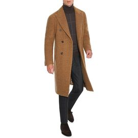 BEIGE DOUBLE-BREASTED BOUCLÉ COAT IN ALPACA-WOOL WITH TOP CONSTRUCTION