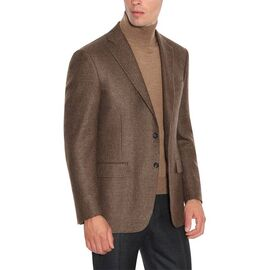 BROWN AND BEIGE CASHMERE HOUNDSTOOTH BLAZER WITH TOP CONSTRUCTION