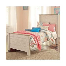 Signature Design by Ashley Willowton Two-Tone Twin Panel Bed in Washed White Finish with Rustic Top Trim