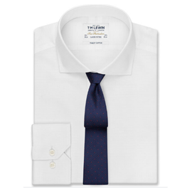 Textured Super Fitted White Dual Cuff Shirt