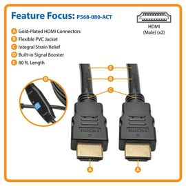 Tripp Lite Active High-Speed HDMI Cable with Built-In Signal Booster, (M/M), Black, 80 ft.