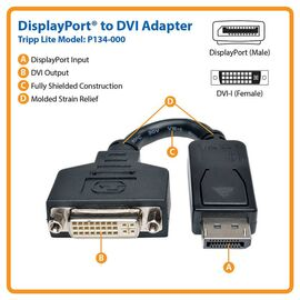 Tripp Lite DisplayPort to DVI Cable Adapter, Converter for DP-M to DVI-I-F, 6 in.