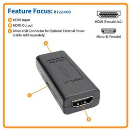 Tripp Lite HDMI In-Line Signal Booster/Extender (F/F), 1920 x 1200 (1080p) @ 24 Hz, Up to 150 ft., TAA