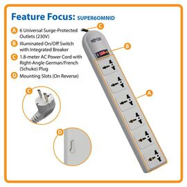 Tripp Lite Protect It! 230V 6-Universal Outlet Surge Protector, 1.8M Cord, German/French Plug, 750 Joules