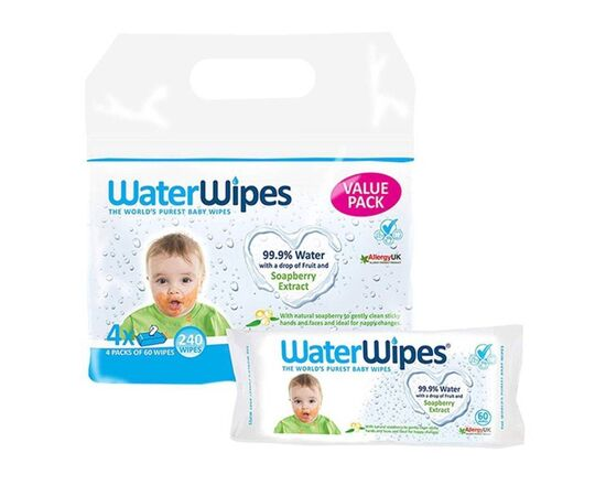 Water Wipes - Baby Wipes Soapberry Value Pack 4 X 60s 5099514001363